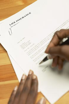 A person signing an insurance document