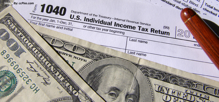 Image of the US individual income tax return form - form 1040