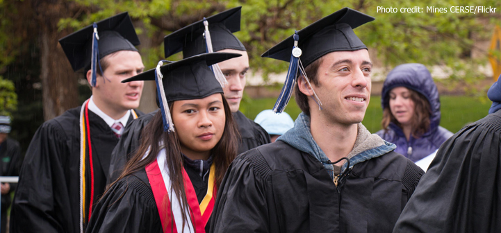 College students at commencement ceremony