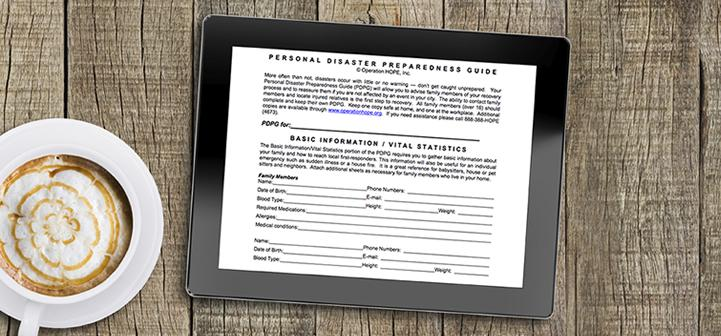 Tablet showing the Personal Disaster Preparedness Guide.